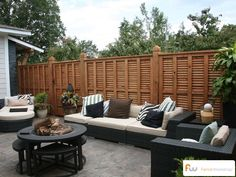 Displaying unusual and Unique Fence and fence plans that complement your front or back yard. View unique fence ideas such as a beautiful Redwood. Outdoor Furniture Sets, Outdoor Living Space, Backyard Spaces, Outdoor Decor, Privacy Fence Designs, Wood Fence, Wood Privacy Fence, Outdoor Spaces, Fence Design