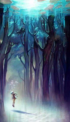 AquaForest Canvas Print by Loish | Society6