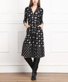 Look what I found on #zulily! Black & Gray Abstract Dot Shirt Dress - Women #zulilyfinds
