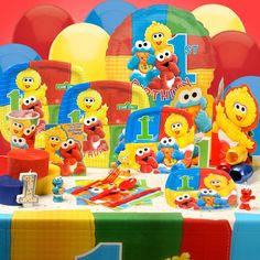 first birthday ideas | Cheap Sesame Street Beginnings 1st Birthday Deluxe Party Kit at ...