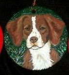 Brittany Dog Custom Hand Painted Christmas by daniellesoriginals, $18.95