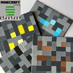 Full DIY instructions to make cardboard Minecraft squares!! Twitchetts: MINE-CRAFT Crafting ~ Swords, Torches, Pickaxes, and More. Perfect for Minecraft party. Party favor, decoration, party activity!