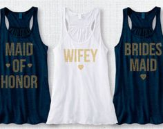Bridal Party Tank Combo Antique Gold Stud WIFEY,Bride, Maid of Honor, Brides Maid, Matron of HonorRinestone Group XS-XXL