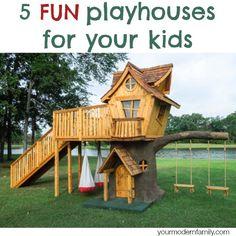5 playhouse ideas | http://www.yourmodernfamily.com/playhouse/