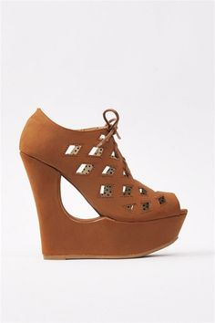 Lace Up Wedge - Chestnut