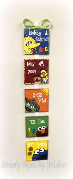 Sesame Street Style Birth Announcement for by SimplySignsByJess, $50.00