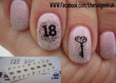 18th birthday nail tattoos/ nail decals /nail transfers