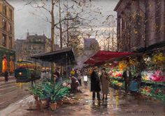 Edouard Leon Cortes, (French, 1882–1969), The Flower Market  | American and European Art | May 25, 2016 in Chicago