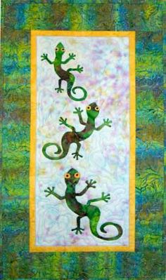 Hanging About geckos quilt pattern