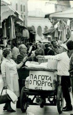 1970 ~ Selling ice cream in Monastiraki, Athens