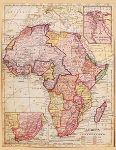 Antique Vintage Decor Old Map of Africa Eygpt Morocco and the Sahara Desert by artdeco (Craft Supplies World Map Art, Old World Maps, Old Maps, Vintage Maps, Antique Maps, Vintage Decor, African Map, African History, Map Maker
