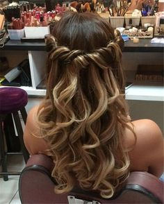 # for # big - Curly Hairstyles - Hochzeitsfrisuren-braided wedding updo-Wedding Hairstyles Prom Hairstyles For Long Hair, Curled Hairstyles, Braided Hairstyles, Wedding Hairstyles, Gorgeous Hairstyles, Long Prom Hair, Hairstyles For Dances, Hair For Prom, Sweet 16 Hairstyles