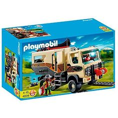 Adventure Truck (C) The Playmobil Adventure Truck has a removable roof for easy access to the living area. The cab opens forward to reveal the engine and the roof can be removed. There is a working winch on the front and duck boards incase the truck gets stuck. Comes complete with a canoe that floats on water and a fillable water bottle. Includes 2 playmobil explorers and accessories  Get it here http://nice4kids.com/shop/adventure-truck-c/