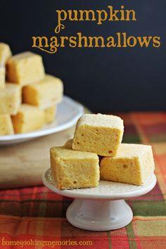 Pumpkin Marshmallows -- homemade marshmallow recipe fun fall treat! #autumn #pumpkin #marshmallows #fall