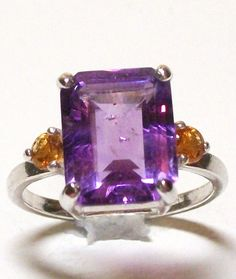 """Ring - Genuine Amethyst - w/ citrine accents - set in Solid Sterling Silver - s7 - """"Pretty in Purple"""""""