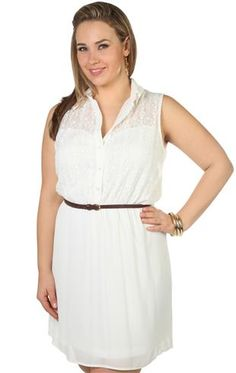 plus size crochet floral lace collared buttoned chiffon a line dress