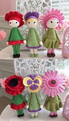 Flower dolls made by Miniş B - crochet pattern by Zabbez