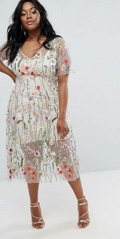 c5e2ab0febd86 Elvi Floral Embroidered Dress. Oversized DressFull Figure FashionPlus Size  ...