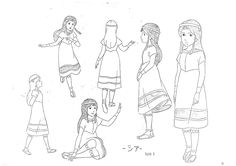 Zia, Les mysterieuses cites d or, model sheet