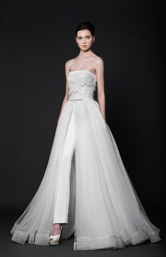 Wedding jumpsuit with tulle overskirt // The Wedding Scoop's favorite Tony Ward wedding gowns and dresses