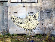 LUCA ZAMOC  'Lord of the Flies'  [Modena, Italy 2014] Modena Italy, Urban Art, Moose Art, Lord, Animals, Animales, Street Art, Animaux, Animais