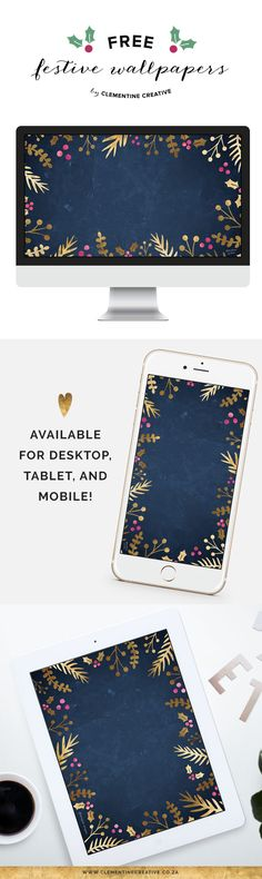 Spruce up your desktop, phone or tablet for the holidays with this free gold foil wallpaper from Clementine Creative!