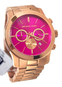 Michael Kors MK5931 Runway Pink Chrono Date Dial Rose Gold Steel Women Watch NEW