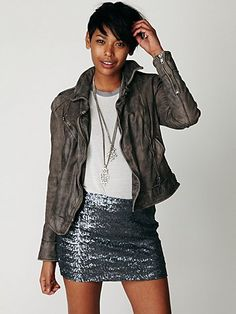 i want a sequin skirt like this so badly. so cute.