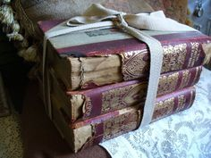 Vintage Stack of Shabby Tattered Worn Antique by scottyscottage, $19.99