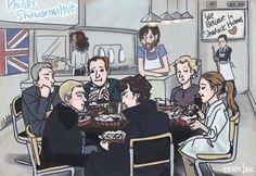 Valeria2067: John, Sherlock, Mycroft, Lestrade, Moriarty, Moran, Anderson, Donovan, and Mary all sitting sitting around a table and silentl...  (new favourite from enerjax)