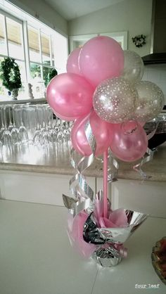 pink and silver colour theme | Event Styling by Four Leaf Baby Shower Decorations, Birthday Decorations, Baby Shower Themes, Baby Shower Parties, Diy Baby Shower Centerpieces, Balloon Decorations Party, Baby Shower Princess, Balloon Bouquet, Sweet 16 Parties