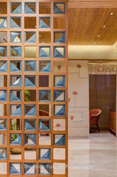 The Apartment interior design are visually connected using different kinds of screens to be able to create a curiosity and continuous feel to the whole house but at the same time retaining the privacy of each space to be used. Glass Partition Designs, Living Room Partition Design, Home Room Design, Living Room Designs, House Design, Door Design, Wall Design, Apartment Interior Design, Interior Decorating