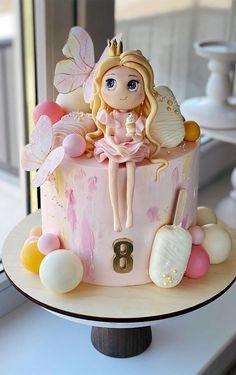 Baby Girl Birthday Cake, Candy Birthday Cakes, Butterfly Birthday Cakes, 8th Birthday Cake, Birthday Cake Pictures, Themed Birthday Cakes, Elegant Birthday Cakes, Pretty Birthday Cakes, Cake Designs For Kids