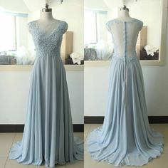 Baby Blue Chiffon Lace Party Dress Light Blue Beading Sequins Bridesmaid dress Custom Lace A-line Wedding Party Gown Sexy Backless Cocktail Lace Gowns
