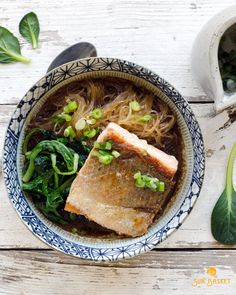 Want the recipe and ingredients for this gluten-free Salmon with Glass Noodles in Miso Broth  delivered right to your door? Click here to check out Sun Basket! Organic ingredients from the best West Coast farms and easy, healthy recipes from a top San Francisco chef, with Paleo, Gluten-Free and Vegetarian meal plans available