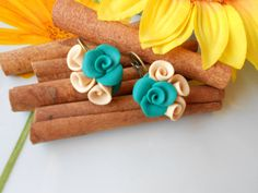 Turquoise fimo earrings by CocoOffice on Etsy, Maya, Jewerly, Polymer Clay, Jewelry Making, Turquoise, Beads, Unique Jewelry, Handmade Gifts, Earrings