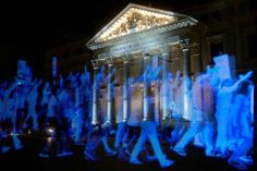 The hologram marchers protesting Spain's new gag law – Tech Ideas for 2019 Hologram Technology, Science And Technology, Hologram Projection, Flesh And Blood, Light Project, Light Art, Architecture, Ceiling Lights, Display
