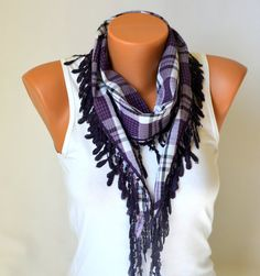 cotton scarf  purple cotton chunky scarf headband by bstyle, $13.50