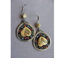 Afghan round ethnic earrings, Bohemian jewelry, heart earrings, massive earrings, Vintage Tribal earrings, Kuchi jewelry, Ethnic Jewellry