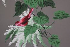 Vintage Wallpaper Red Birds Green Leaves and White Flowers on Gray by the Yard