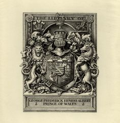 Bookplate belonging to George Frederick Ernest Albert Prince of Wales