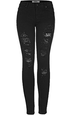 2LUV Women's Distressed Skinny Jeans Black 11 (G778A) ❤ ...