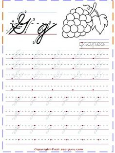 free printables cursive tracing handwriting practice worksheets letter g for…