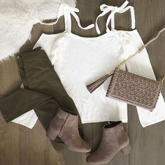 #ootd featuring our 'Ribbons & Bows Ivory Knit Sweater Top' & our 'Olive High Waisted Skinny Pants'