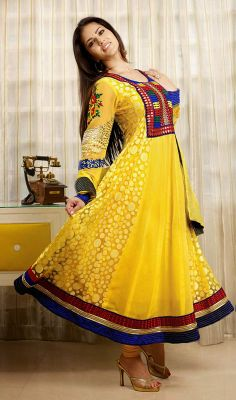 Yellow Sunny Leone Faux Georgette Anarkali Dress Price: Usa Dollar $111, British UK Pound £65, Euro82, Canada CA$121 , Indian Rs5994.