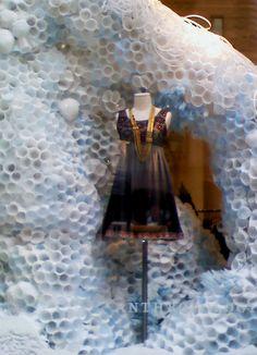Plastic cup-beehive/winter snowbank.