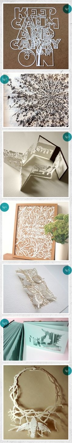 Intricately designed hand cut paper products. Amazing work by various artists.