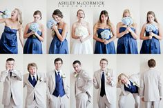 Love the dark blue with the light suits! adorable head shots of the bridal party