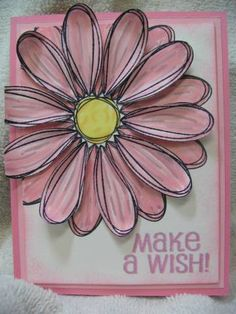 Pick a Petal by semichocolate - Cards and Paper Crafts at Splitcoaststampers Handmade Card Making, Bday Cards, Friendship Cards, Paper Cards, Flower Cards, Kids Cards, Cute Cards, Greeting Cards Handmade, Homemade Cards