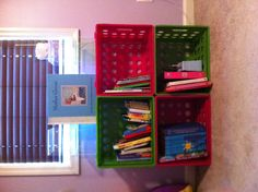 Hannah's $10 bookcase!! 4 plastic crates from Walmart + zip ties...love it!!